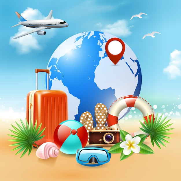 Colored summer holidays realistic composition Free Vector