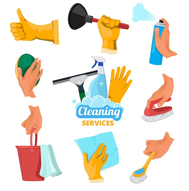 Colored symbols for cleaning service. hands holding different tools Premium Vector