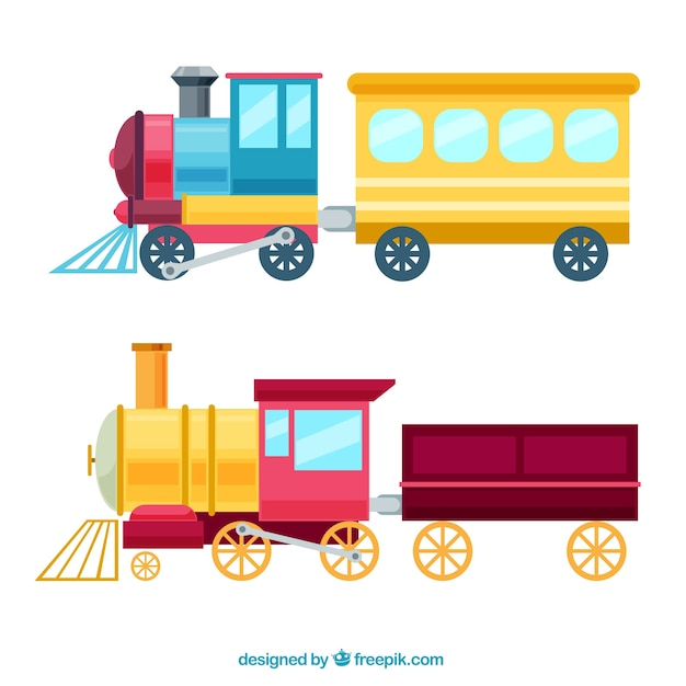 Colored toy trains in flat design