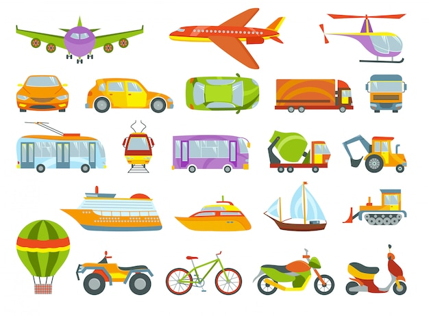 Colored transport Premium Vector