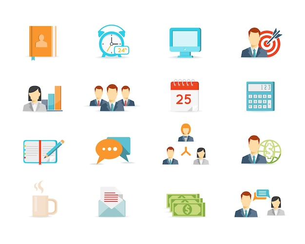 Colored trendy office work and management elements Free Vector
