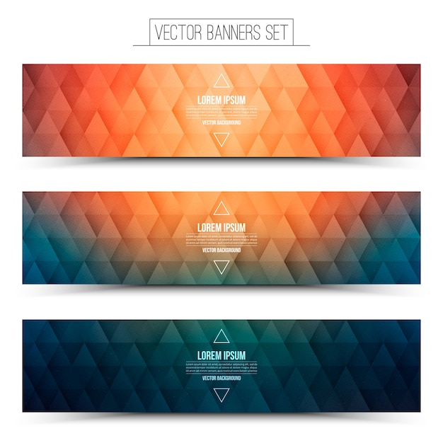 Colored triangular structure orange blue banners set on white background Premium Vector