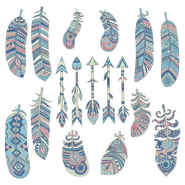 色付きの部族の羽のコレクション。伝統的なアメリカのインドの文化的な装飾が施された要素ベクトル画像と矢印 Premiumベクター