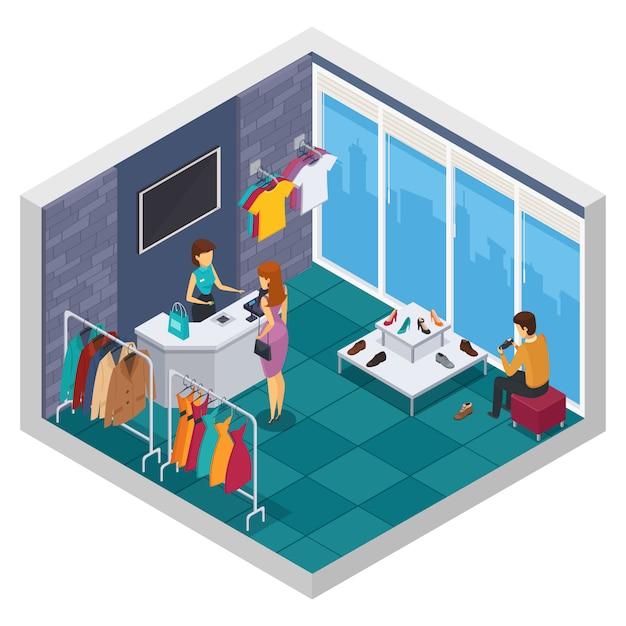 Colored trying shop isometric composition with window wall and store room with buyer Free Vector