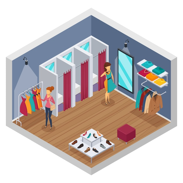 Colored trying shop isometric interior with walls and store with fitting rooms Free Vector