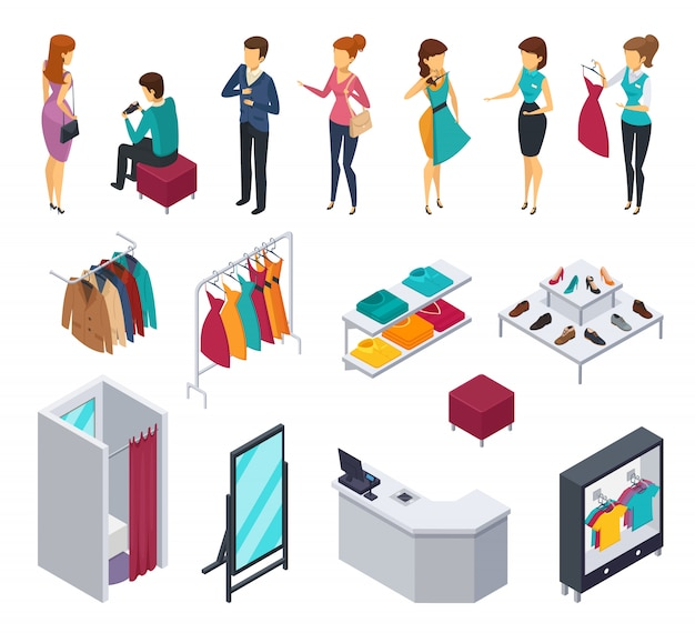 Colored trying shop isometric people icon set with accessories and elements of shop furniture clothing Free Vector