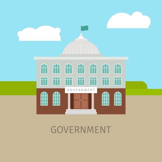 Colored urban government building Premium Vector