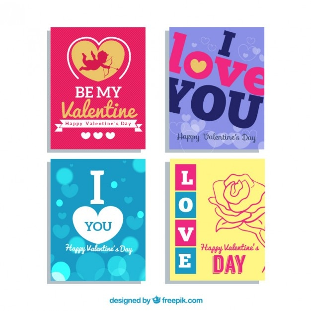 Colored valentines day cards pack Free Vector