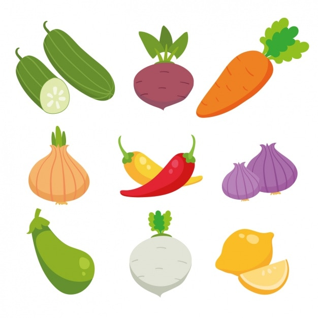 Colored vegetables collection Free Vector