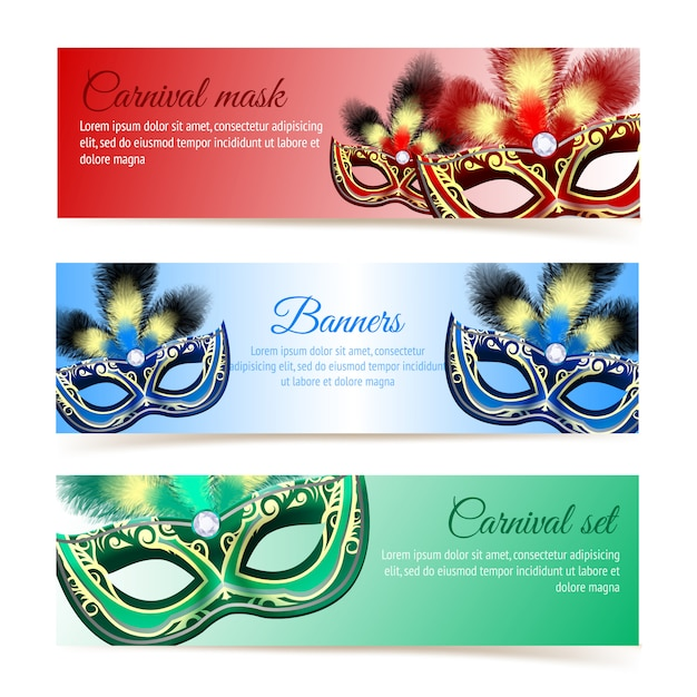 Colored venetian carnival mardi gras colorful party masks banner template Free Vector