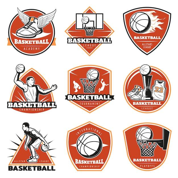 Набор цветных старинных баскетбольных наклеек Бесплатные векторы
