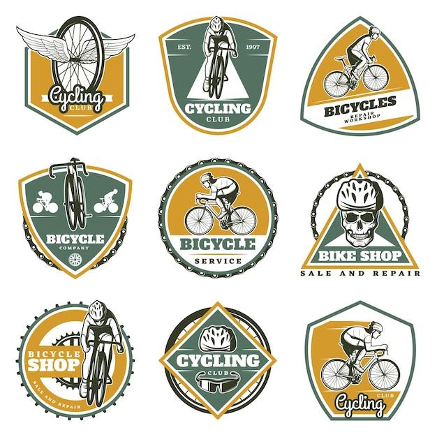 Colored vintage biking labels set Free Vector