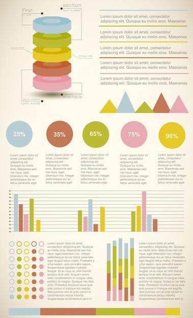 Набор цветных старинных инфографических диаграмм, представляющих статистику и процент Бесплатные векторы