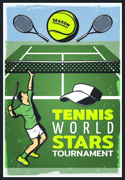 Colored vintage tennis championship poster Free Vector