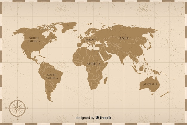Colored vintage world map concept Free Vector