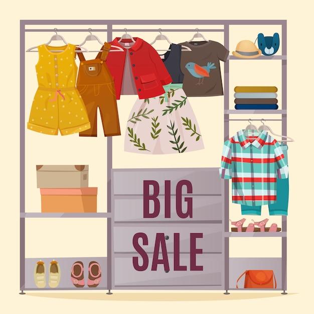 Цветной гардероб плакат Бесплатные векторы