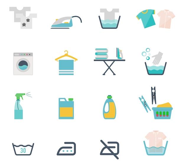 평면 스타일의 컬러 세척 아이콘 및 세탁 기호 무료 벡터