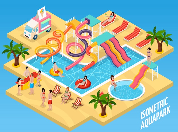 Colored water park aquapark isometric composition Free Vector