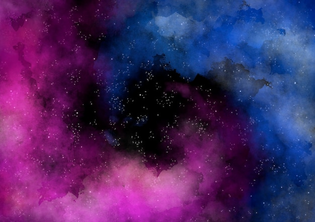 着色された水彩スパイラル星雲銀河の背景 無料ベクター