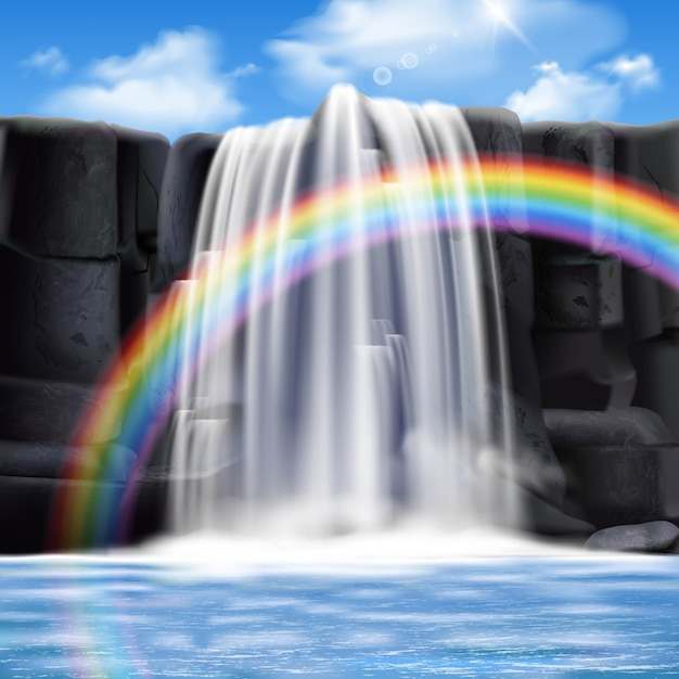 Colored waterfalls realistic composition Free Vector