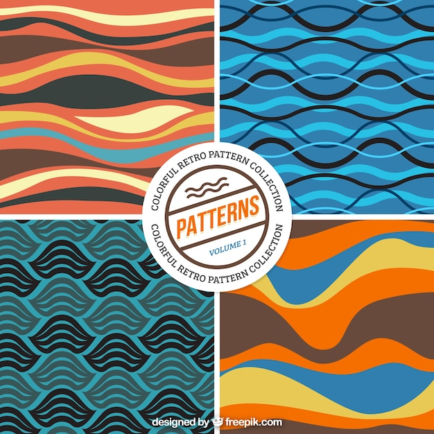 Colored waves patterns pack Free Vector