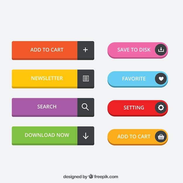 Colored website buttons Premium Vector