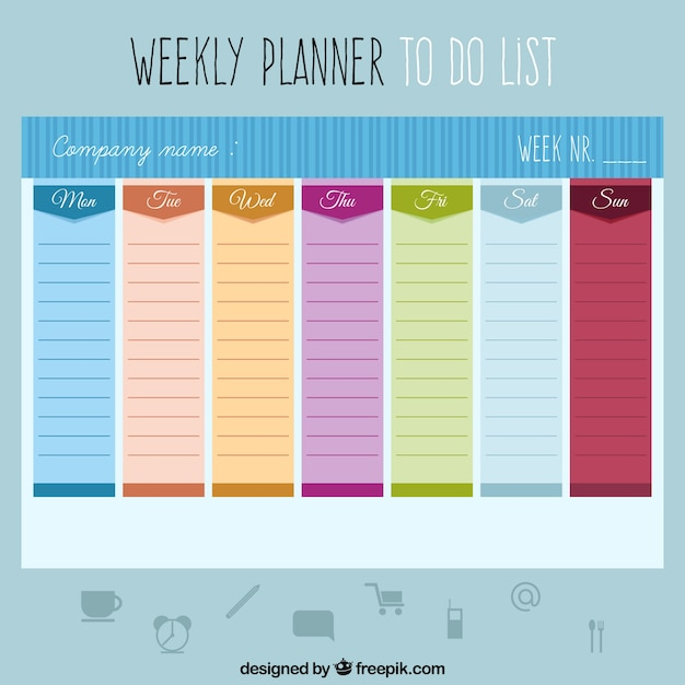 Colored weekly planner to do a list