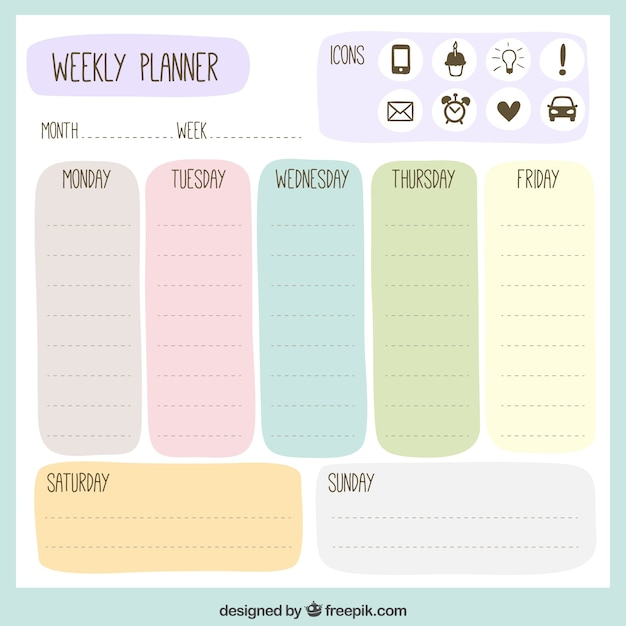 Colored Weekly Planner  Agenda Download Free