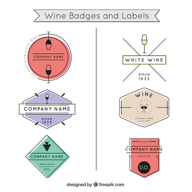 Colored wine badges and labels Free Vector
