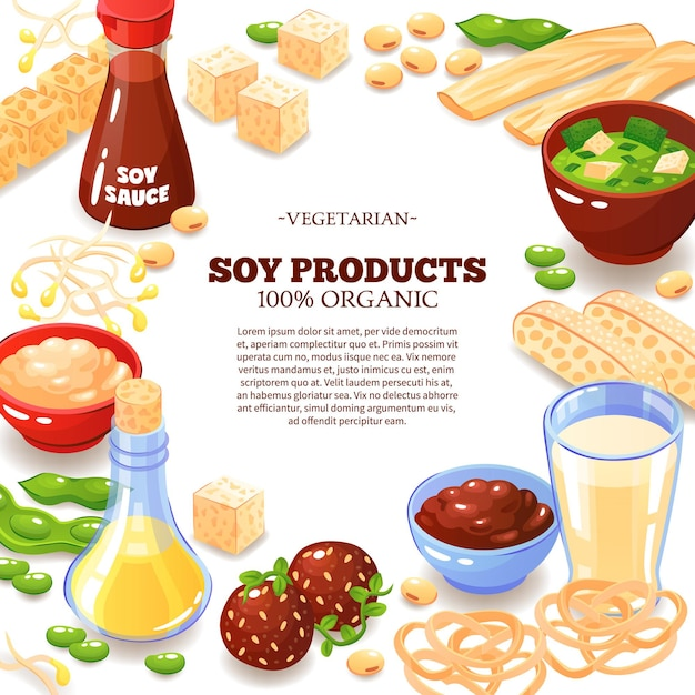 Colored  with decorative frame composed of soy products  and inside text information about vegetarian food  cartoon Free Vector