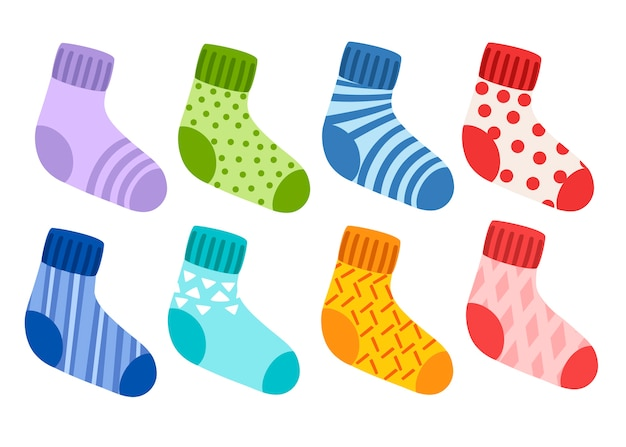 Colored wool knitted socks collection. socks with different pattern and texture. colorful set. Premium Vector