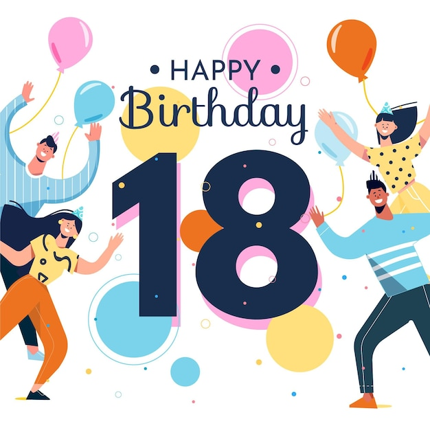 Colorful 18th birthday background style Free Vector