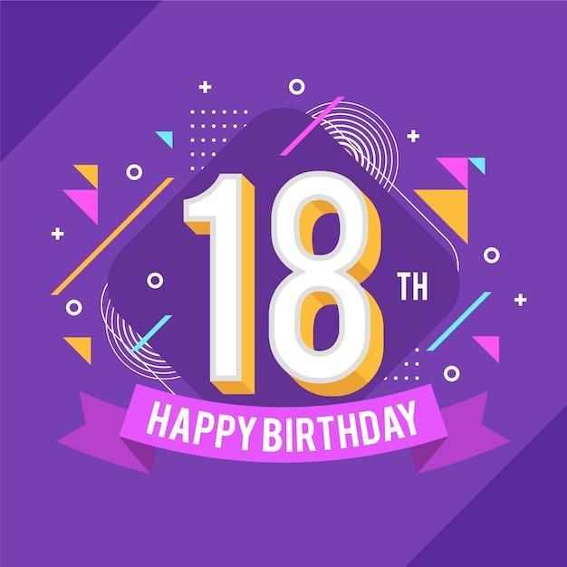 Colorful 18th birthday background Premium Vector