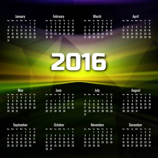 Colorful 2016 calendar in abstract style