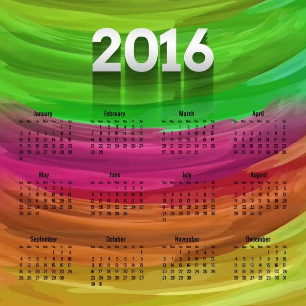 Colorful 2016 calendar in hand painted style
