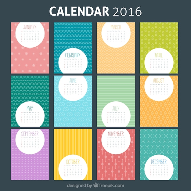 Colorful  Calendar Template Vector  Free Download