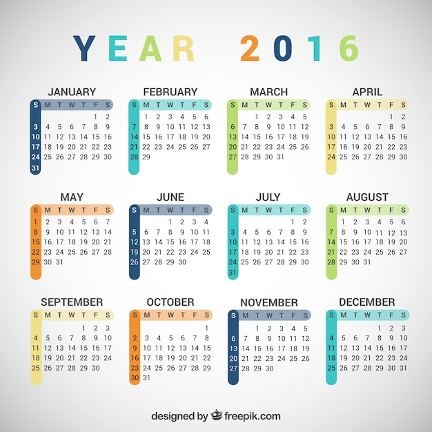 Colorful 2016 calendar Vector | Free Download