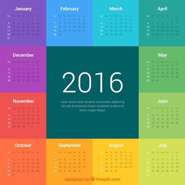 Colorful 2016 calendar Vector | Premium Download