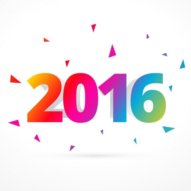 Colorful 2016 happy new year card