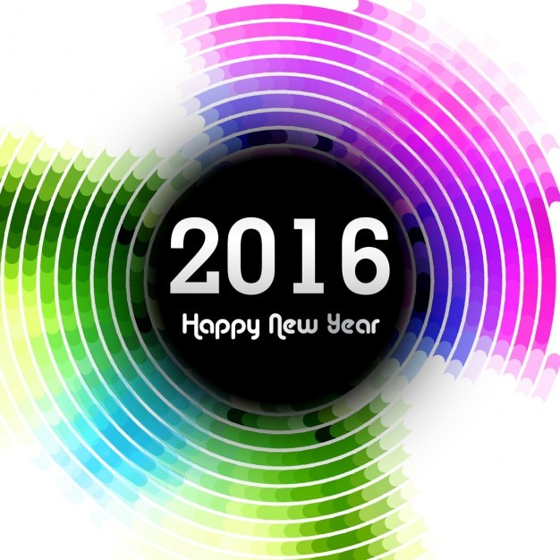 Colorful 2016 New Year Card