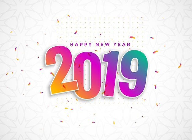 Colorful 2019 in 3d style with confetti Free Vector