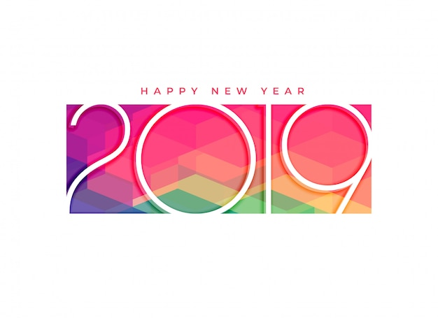 Colorful 2019 happy new year background design Free Vector