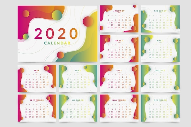 Colorful 2020 calendar template Free Vector