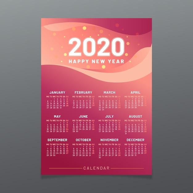 Colorful 2020 calendar template Free Vector