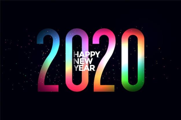 カラフルな2020年の輝く新年 無料ベクター