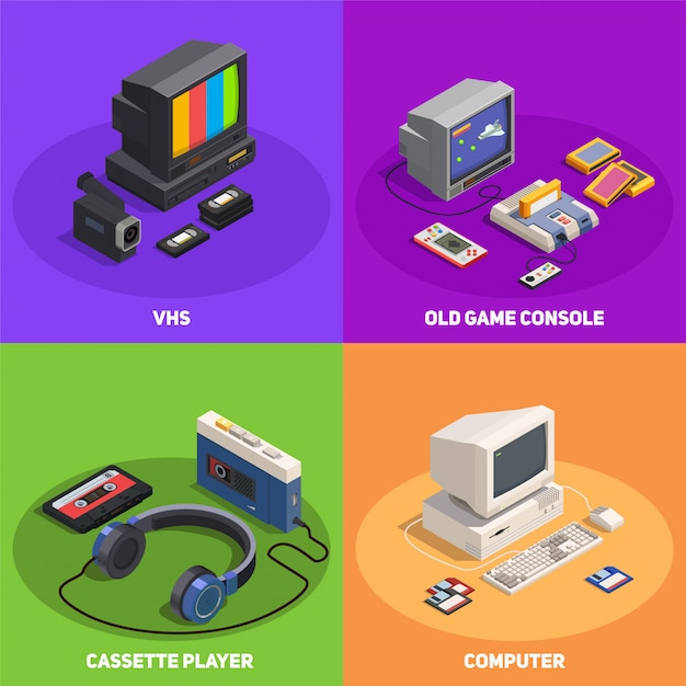 Colorful 2x2 isometric design concept with various retro gadgets such as computer player console vhs 3d isolated Free Vector