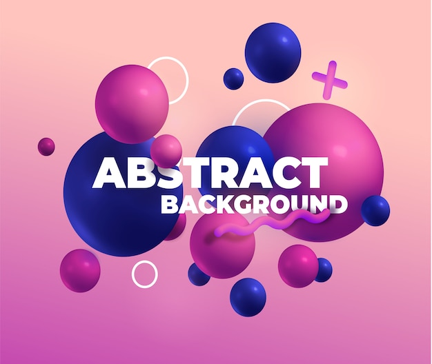 Colorful 3d balls and trend elements. pink, red and blue. Premium Vector