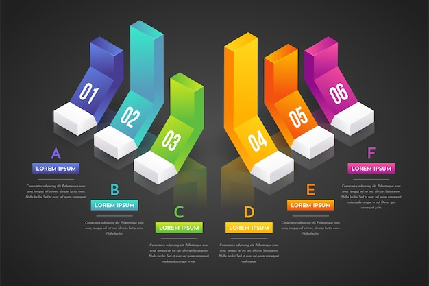 Colorful 3d bars infographic Free Vector