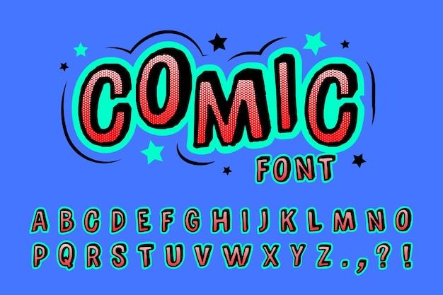 Colorful 3d comic alphabet Free Vector