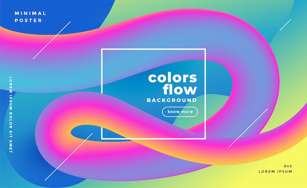 Colorful 3d fluid flow wave trendy background Free Vector